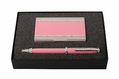 Swarovski Pink Metal Ball Pen And Card Holder Set Crystal Decoration