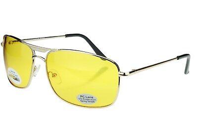 Night Driving Vision Glasses Pilot Sunglasses Square Yellow Lens Glare (Ladies Night Driving Glasses)