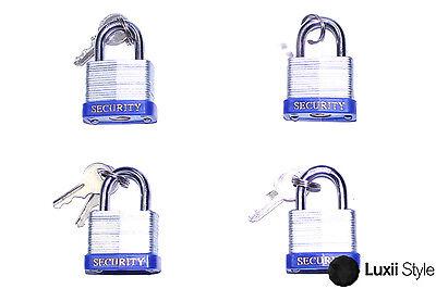 Lot Of 4 Heavy Duty 30mm Laminated Steel Padlocks Locks W 2 Keys Security