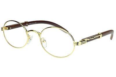 Fake Executive Eye Glasses Vintage Clear Oval Lens Metal Frame Wood Buffs Gold (Fake Eyeglasses)