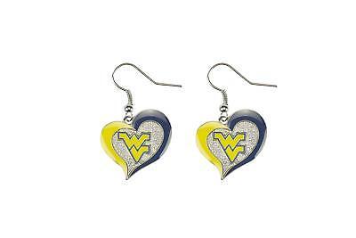 West Virginia Mountaineers WVU NCAA Heart Swirl Charm Silver Dangle Earrings Set