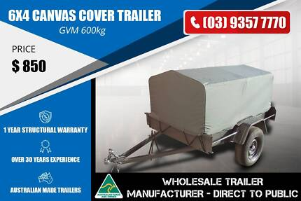 Canvas Cover Trailer - 6x4 - Grey Colour Epping Whittlesea Area Preview