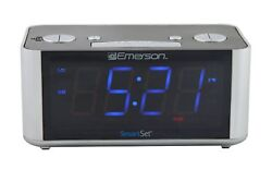 Emerson Dual Alarm Smart Set FM Clock Radio Auto DST Aux In USB Charging
