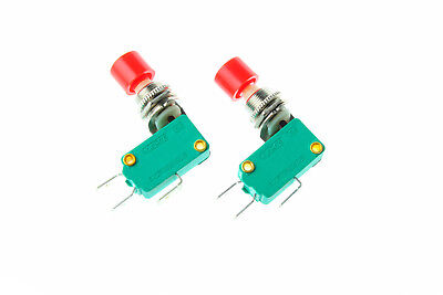 2pcs Red Cap Push Button Ds438 Micro Switch Spdt No Nc Momentary