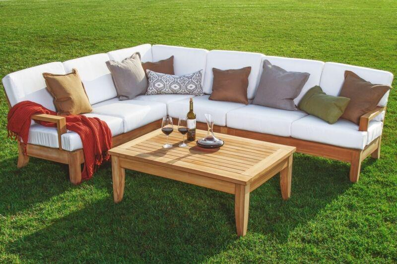 Atnas A-grade Teak Wood 5pc Outdoor Garden Sectional Sofa Lounge Set New