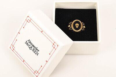 Alexander McQueen black 10.25 enamel skull sword motif signet ring NEW $430