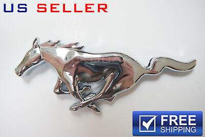 - Chrome Big Running Horse Front Grill Emblem Badge Grille For Ford Mustang