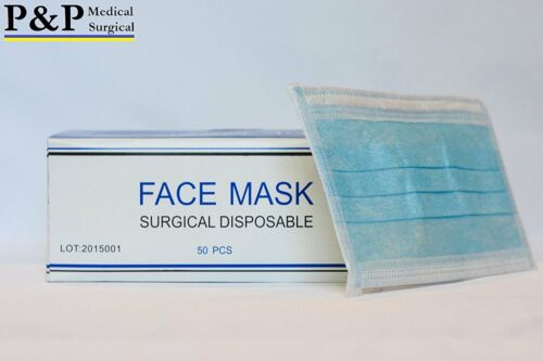 Disposable Medical Face Masks Elastic with Ear Loops 3-Ply Thick Box of 50