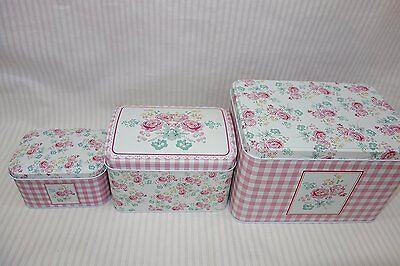 Decorative Storage Tins, Shabby Chic, Floral Design Set of 3