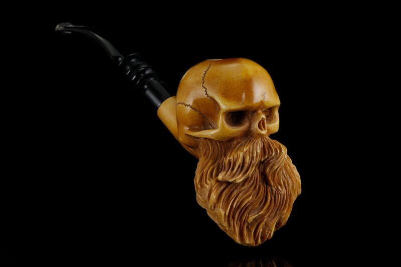 Skull W Beard Pipe By Kenan   Handmade Block Meerschaum-NEW W CASE#272