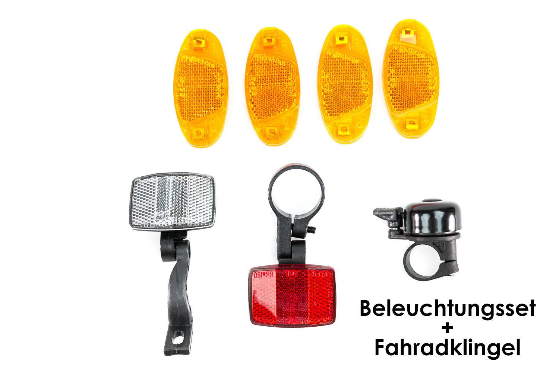 Fahrrad  Reflektoren  Katzenaugen  Beleuchtungsset  Speichenreflektoren  Klingel