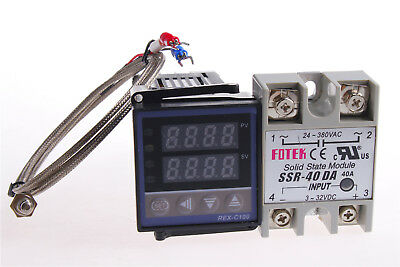 Rex-c100 Pid Temperature Controller 220v Max.40a Ssrk Thermocouple Probe Cable