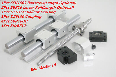 1pcs Sfurm1605 300-1500mm Ballscrew 2pcs Sbr16 Linear Rail Kit For Cnc