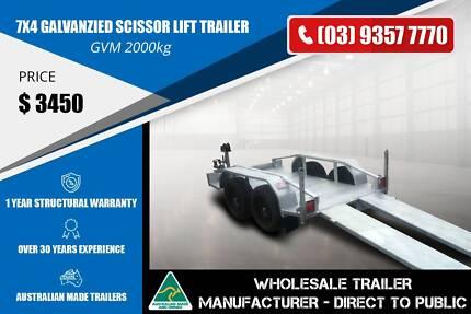 Galvanzied Scissor Lift Trailer - 7x4 - GVM 2000kg Epping Whittlesea Area Preview