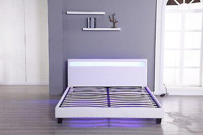 Modern Platform Full Size Leather Bed Frame Slats Headboard w/LED Light White