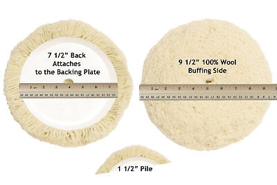 """100% Wool Buffing Pad (7-1/2"""" 100% Wool Hook & Loop Grip Buffing Pad for Compound Cutting &)"""