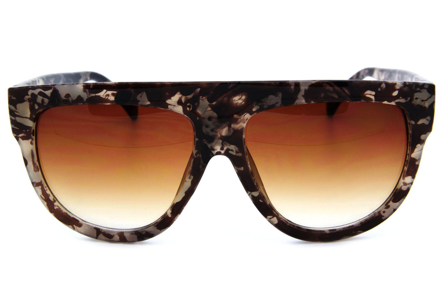 SHADOW Designer Inspired Flat Top Ombre Sunglasses Oversized Thick Frame Retro
