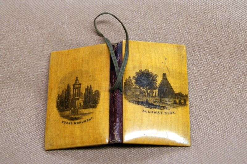 Antique Mauchline Ware Wood Needle Case Sewing Burn