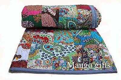 Patchwork Cotton Quilt King Size Comforter Reversible Bedspr