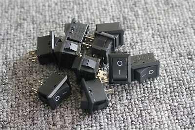10pcs Spst Onoff Black Square Io Rocker Switch Mini 12v Automotivecarboat