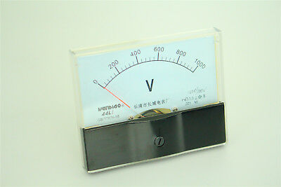 Ac 0-1kv Rectangle Analog Panel Volt Meter Gauge Black White 44l1-v New