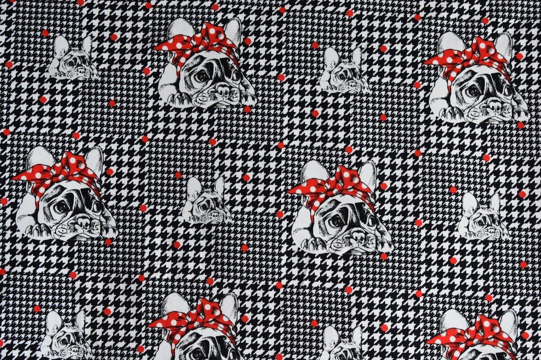 Hund, französische Bulldogge, Baumwoll Jersey, Quadrate schwarz FVJ,Stoff (J127)