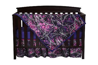 (Muddy Girl Camo Crib Set Bedding, Sheet Skirt Blanket Pink Purple Baby Toddler)