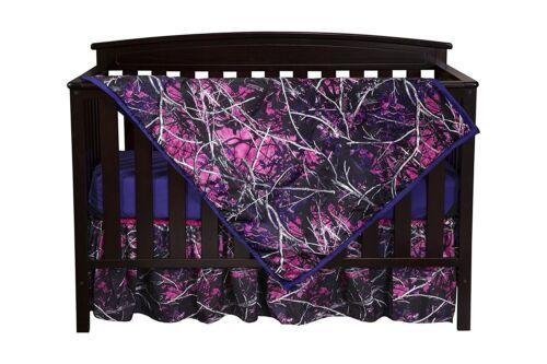Muddy Girl Camo Crib Set Bedding, Sheet Skirt Blanket Pink Purple Baby Toddler
