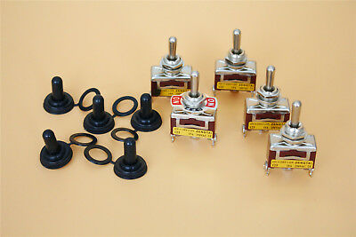 Momentary Toggle Switch 5pcs 3position On-off-on Panel5pcs Waterproof Cover Cap
