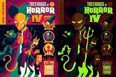 The Simpson's Glow Dark Treehouse Of Horror IV 4 Halloween Mondo Poster Print **