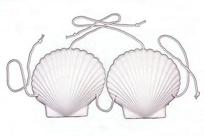 SEASHELL SEA SHELL BRA TOP Adult Costume Mermaid Bikini Plastic Hawaiian Luau