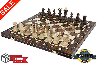 Large Wooden Chess 21 Inch Full Set Vintage Game Gifts Hand