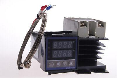 Ac110-240v Rex-c100 Pid Temperature Controller Heat Sink Ssr 40da 1m K Probe