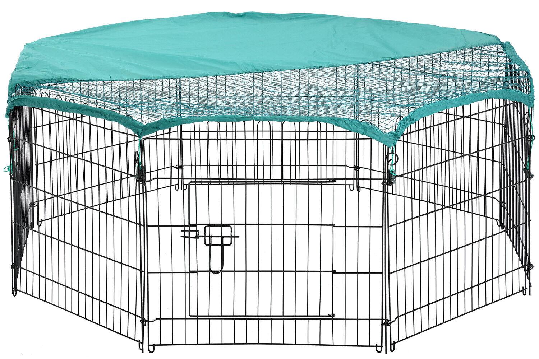 8 Panel 24″ Pet Playpen w/Door & Cover Rabbit Enclosure Dog Cat Cage Dog Supplies