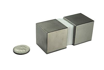 2 Large Strong Rare Earth Metal Magnets Cube Square Art Neodymium N52 Powerful