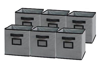 Foldable Cloth Storage Cube Basket Bins Organizer, 6 Pack, Black/Grey ()