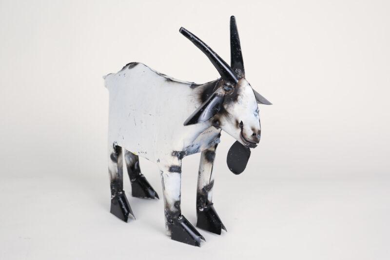Recycled Metal-Goat-Mexican Folk Art-Animal-Art-Sculpture-Farm-Small-Garden