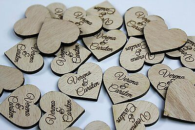 60 Stück Streudeko Herz Hochzeit Tischdeko Wunschnamen Dekoration Holz Taufe