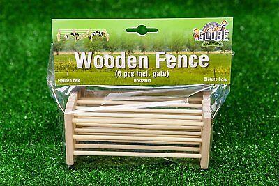 Kids Globe Wooden Fences 6 peices - toy farm accessories. scale 1:24