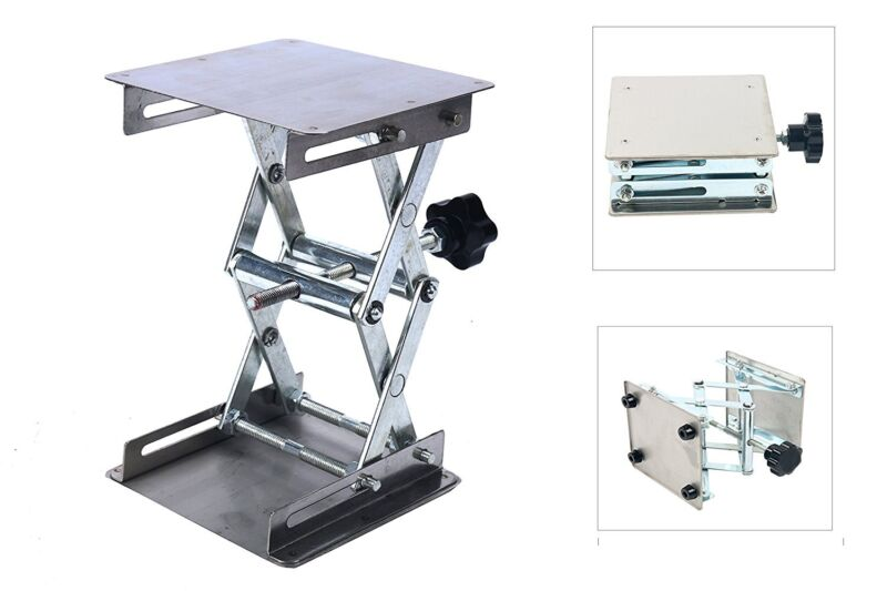 """4"""" x 4"""" 100mm Stainless Steel Lab Stand Table Scissor Jack Lift laboratory Jiffy"""