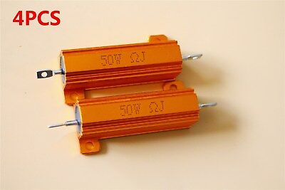 4pcs Gold Tone Aluminum Housed Wirewound High Power Resistor 50w 0.1-1k Ohm