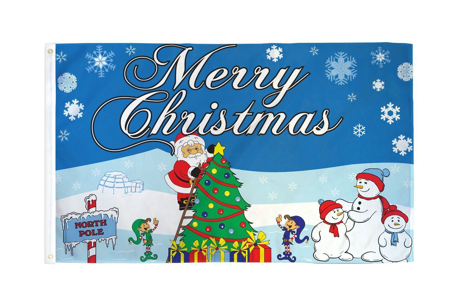 3x5 Merry Christmas at the North Pole Polyester Flag Xmas Ho