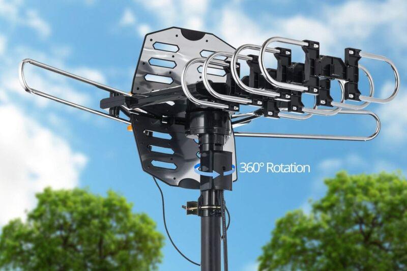 150MILES HDTV TV ANTENNA OUTDOOR MOTORIZED AMPLIFIED HIGH GAIN UHF VHF SNAP ON