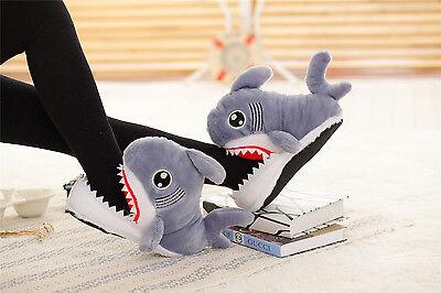 3D Slip-Resistant Shark Head Cotton Slippers Adult Soft Plush Cotton Handmade UK - Shark Slippers Adult