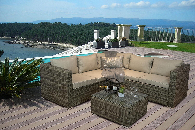 Garden Furniture - 'Casa Rattan' Brown Rattan Corner Sofa Outdoor Garden Furniture Coffee Table Set