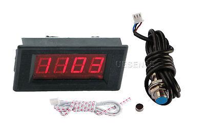Digital Red Led Tachometer Rpm Speed Meter Hall Proximity Switch Sensor Npn