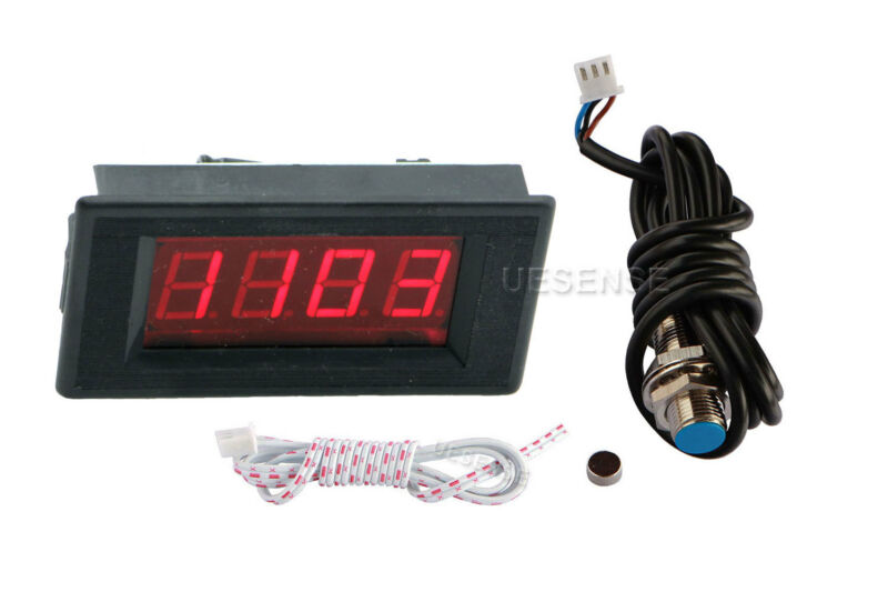Red 4 Digital LED Tachometer RPM Speed Meter + Hall Proximity Magnetic Sensor