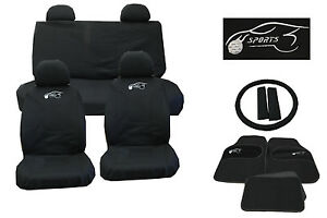 mazda cx 5 cx 7 cx 9 universal car seat cover set 15 piece sports logo black 305. Black Bedroom Furniture Sets. Home Design Ideas