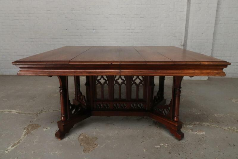 NICE WALNUT ANTIQUE FRENCH GOTHIC DINING ROOM TABLE -