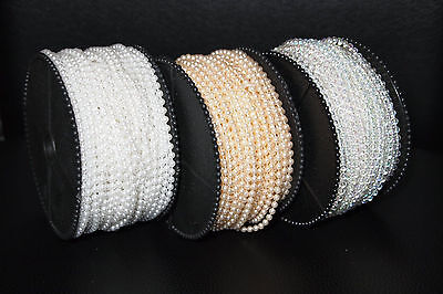 3mm/4mm/6mm Faux Pearl Beads on a String White, Ivory, or Clear Iridescent - Ivory Pearls